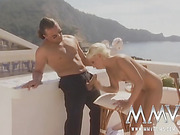 Short-haired blonde slut gets mouthful of cum after deep double penetration at the pool