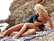 Big-titted blonde goddess gets pounded hard during the seaside picnic