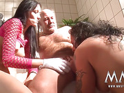 Busty brunette and inked mature BBW both in cotton gloves fucking with bald hairy dude