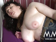 Busty brunette housewife pleasing a dude with a blowjob before hard nailing