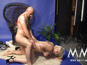 Tattooed blonde bitch with big natural tits toying her snatch and fucking with a photographer