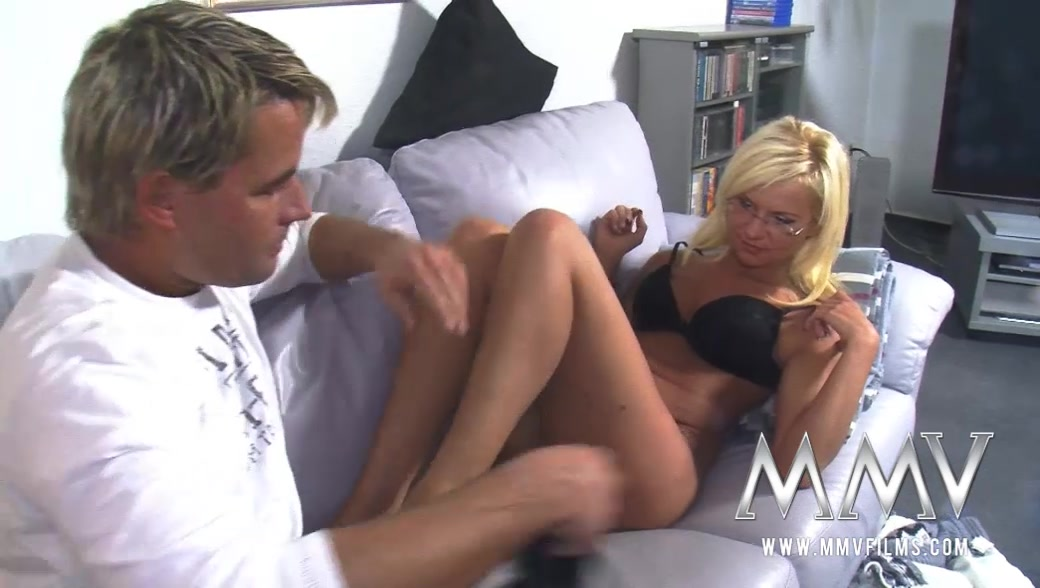 Tanned Blondie In Glasses Takes Facial After Getting Her Pierced Pussy Poked Badly