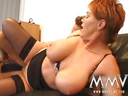 Red BBW in nylons takes facial after hardcore gangbang with two dudes in gloves and mask