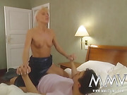 Redhead and blonde spoil their men with world-class pussy action in private.