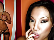 Submissive Asian in black fishnet stockings likes rough sex to include a hand over her mouth.