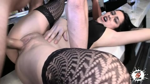 Babe In A Black Bra And Stockings Has Her Pussy Pulled Open Wide Before She Is Fucked.