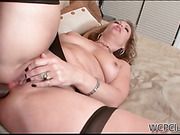 Stacked blondie in nylons gets poked into ass by a black lad