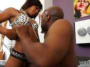 Juicy ebony in fishnet stockings gets her poo hole poked in various poses