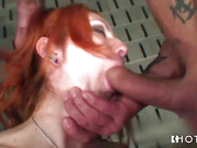 Redhead in black panties and a crimson dress really loves getting cock deep inside.