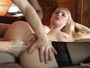 Saucy blonde in black hosiery is all about anal sex and backdoor fisting.