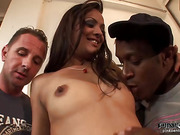 Black and white double penetration for a sexy brown-eyed gal