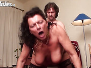 Granny in nylons screams when she is screwed and eaten out by a younger lover.