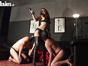 Slut is center of attention when taking on two guys who love her dirty bathroom antics.