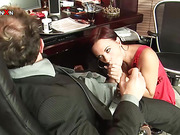 Gorgeous secretary gets ass stimulated by boss in his office