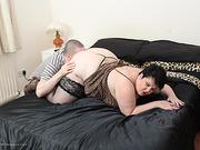 Delish gentlewoman in black stockings gets her fat cunt eaten in bed.