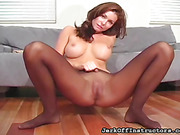 Slutty gold dress comes off during a sexy kitten's dirty talk, encouraging your release.