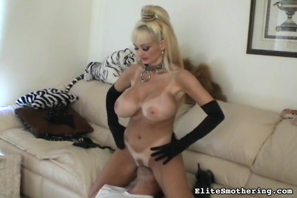 Ponytailed Blonde Mistress In Leather Lingerie And Gloves Gets Her Butt And Huge Boobs Worshiped