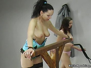 Dark-haired lady in sexy stockings plays the submissive role