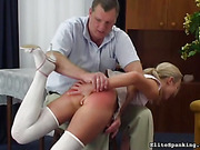 Sexy babe in white stockings dreams to stop her torturer