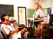 Modest blonde girl never suspect to get spanked by teacher