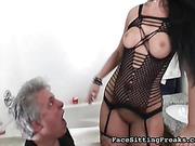 Huge ass of gorgeous brunette excites older partner