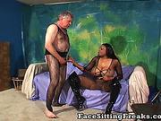 Old man wears transparent pantyhose during interracial act