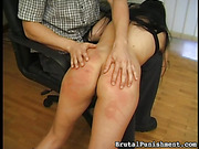 Brunette slut in high boots gets undressed and spanked badly in the office