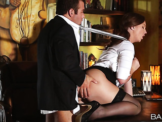 slutty brunette secretary office