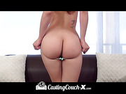 Foxy chick stands up and displays her skinny body before she peels off her blue shirt and pink shorts then pose her luscious curves in turquoise lingerie before she takes off her bra and shows her big tits and butt then peels down her thong and lets a hor