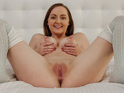 Tattooed busty doll in nylons gagging with a dong before POV cockriding backwards