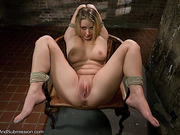 Blindfolded and gagged blonde beauty gets drilled badly in bondage