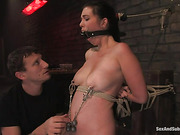 Gagged and bound brunette with big natural tits gets tortured badly and fucked in rough manner