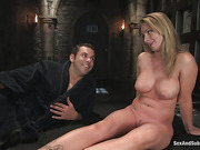 Curvy gagged buxom in latex dress gets her pooper pounded badly while being bound
