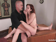 Slutty red student gets punished and assfucked in bondage by her pervert teacher for bad marks