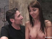 Busty brunette babe gets tied up and fucked roughly for the first time
