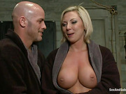 Big-boobed blondie gets tortured with cuffs, clover clamps and rough anal fuck by bald master