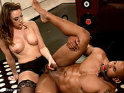 Tattooed black hung gets gagged and bound before assfucking with strap-on by kinky mistress