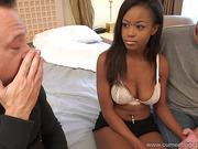 Hot busty Ebony takes part in classic cuckold porn scene