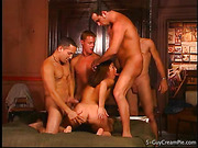 A group of horny lads is ready to rip petite brunette chick while fucking her furiously in turn