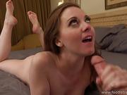 Brunette gets nasty with her handsome foot worshiping partner