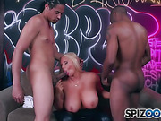 Fuckable looking MILF gets down on her knees while two black pipes use up all her holes and she just can't get enough