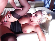 Guy digs his big cock into blue-eyed blondie's tight pussy and enjoys her big tits bouncing around