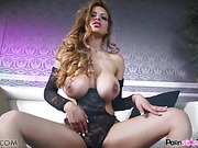 Gigner babe with huge juggs takes off her black dress to show off her pussy spread
