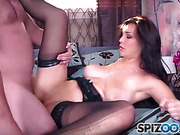 Spirited brunette with natural, big tits pleases and obeys her lover as he gets aroused by her exhibiting, black lingerie