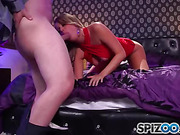 Blonde freshie in a sexy red dress allows to fuck her in various poses