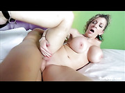 Stunning cougar teases a hunk stud with her steaming hot body in multi-colored dress and black high heels before she strips them off and lets him lick her pussy while she sucks his cock in sixty-nine position before she lets him fuck her in spooning style