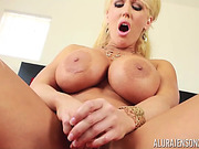 Impressive BBW blonde in a super hot solo scene