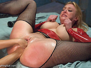 experienced lesbian caresses her
