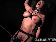 Tied up brunette bitch gets drilled with a sex toy
