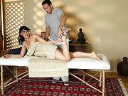 Freaky dark haired cutie is eager to use her handsome masseur
